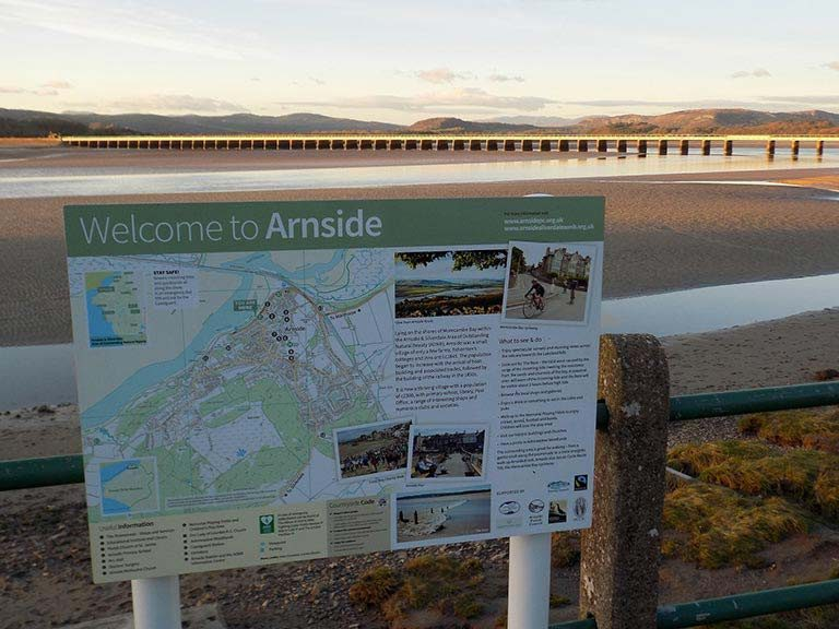 A sign guide to Arnside in Morecambe Bay