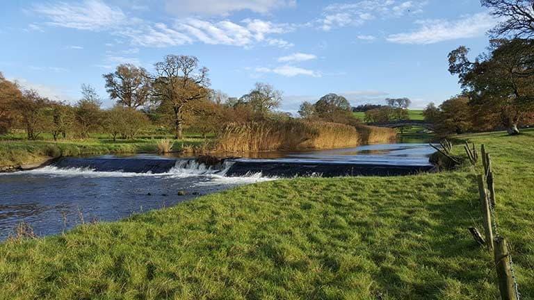 The RIver Bela running through Dallam Estate in Milnthorpe, Cumbria