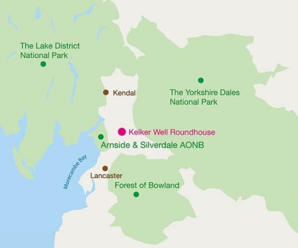 A location & travel map for Kelker Well Roundhouse, with the Lake District, Yorkshire Dales and Forest of Bowland